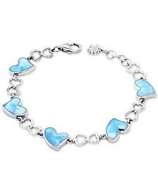 Marahlago Larimar Heart Link Bracelet in Sterling Silver