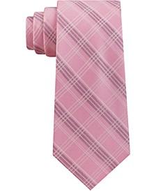 Men's Fine Line Double Line Check Silk Tie