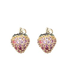 Pink Cubic Zirconia Strawberry Stone Earring