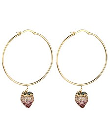 Pink Cubic Zirconia Strawberry Stone Extra Large Hoop Earrings