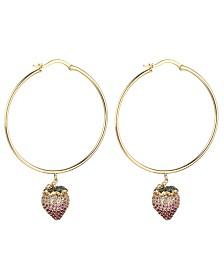 Noir Pink Cubic Zirconia Strawberry Stone Hoop Earring