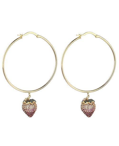 nOir Pink Cubic Zirconia Strawberry Stone Extra Large Hoop Earrings