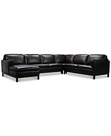 """Virton 136"""" 4-Pc. Leather Chaise Sectional Sofa, Created for Macy's"""