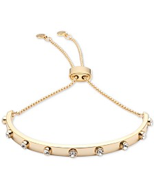 DKNY Gold-Tone Crystal Bar Slider Bracelet