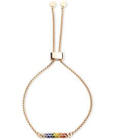 DKNY Gold-Tone Rainbow Micropavé Bar Slider Bracelet