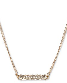 "DKNY Gold-Tone Micropavé Bar Pendant Necklace, 16"" + 3"" extender"