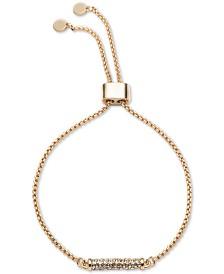 DKNY Gold-Tone Micropavé Bar Slider Bracelet