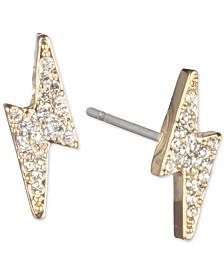 DKNY Gold-Tone Pavé Lightning Bolt Stud Earrings