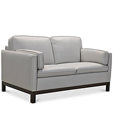 """Virton 63"""" Leather Loveseat, Created for Macy's"""