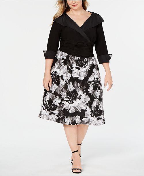 Plus Size Portrait-Collar A-Line Dress