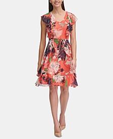 Petite Floral Chiffon Ruffled Dress