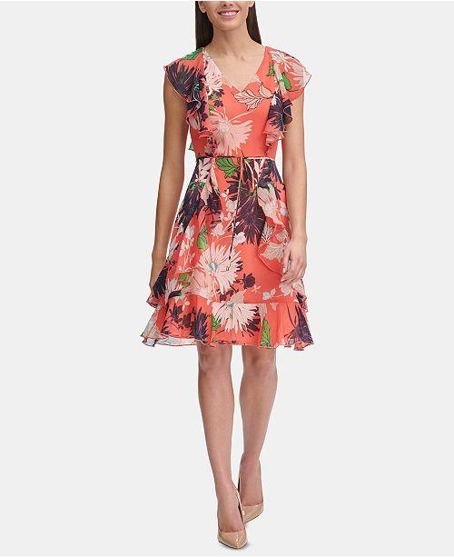 Tommy Hilfiger Petite Floral Chiffon Ruffled Dress