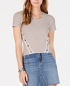 Juniors' Striped Button-Trimmed T-Shirt, Created for Macy's