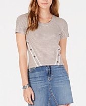 2f797376972 American Rag Juniors' Striped Button-Trimmed T-Shirt, Created for Macy's