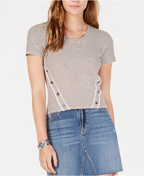 American Rag Juniors' Striped Button-Trimmed T-Shirt, Created for Macy's