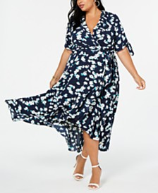 Jessica Howard Plus Size Floral High-Low Maxi Dress