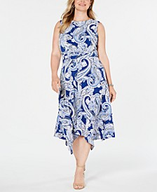 Plus Size Printed Ruched-Waist Midi Dress