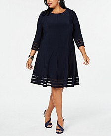 Plus Size Illusion-Detail Fit & Flare Dress