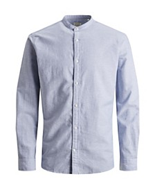 Jack & Jones Men's Mandarin Collar Linen Shirt