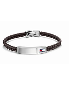 Tommy Hilfiger Men's Stainless Steel Braided Leather Bracelet