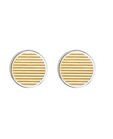 Tommy Hilfiger Men's Two-Tone Stainless Steel Striped Cufflinks