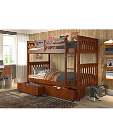 Twin Over Twin Mission Bunk Bed with Dual Underbed Drawers