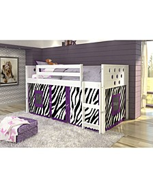 Twin Circles Low Loft Bed with Zebra Tent