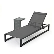 Modesta Outdoor Chaise Lounge & Table Set