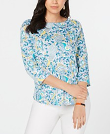 Charter Club Pima Cotton Printed Boat-Neck Top, Created for Macy's