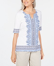 Border-Print Embellished Top, Created for Macy's