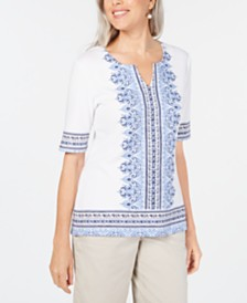 Karen Scott Border-Print Embellished Top, Created for Macy's
