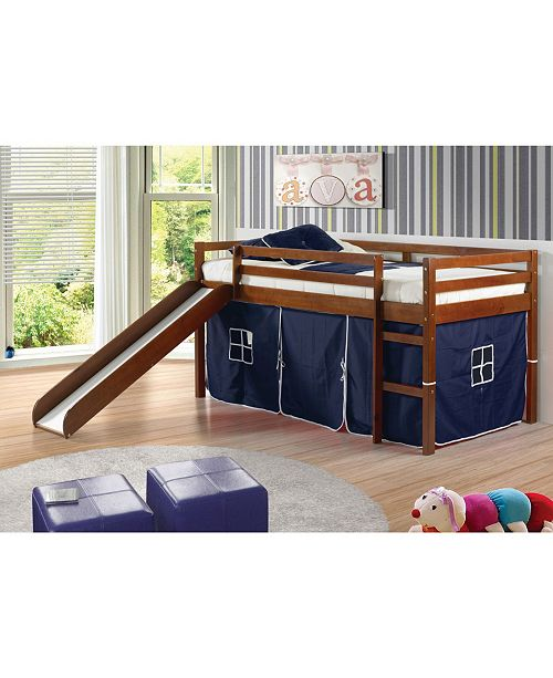 Donco Kids Twin Tent Loft Bed with Slide