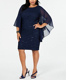 Alex Evenings Plus Size Lace Cape-Sleeve Sheath Dress