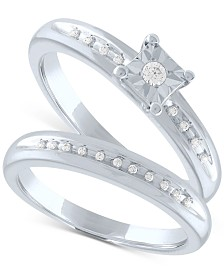 Diamond Bridal Set (1/10 ct. t.w.) in Sterling Silver
