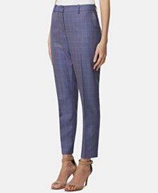 Tahari ASL Windowpane-Print Ankle Pants