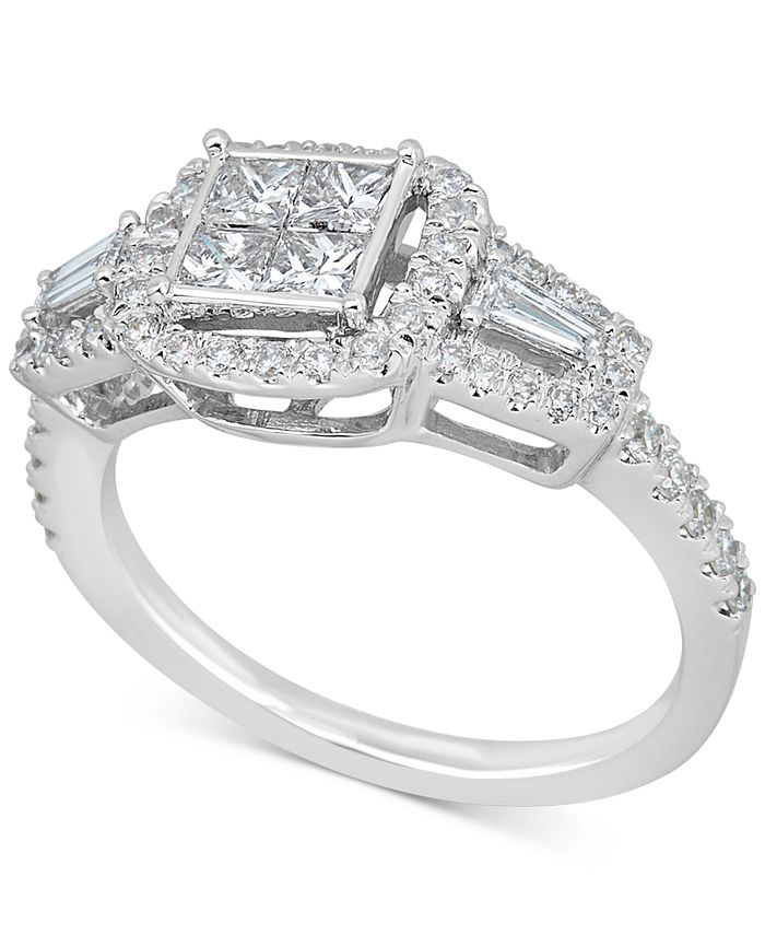 Macy's - Diamond Cluster Engagement Ring (1 ct. t.w.) in 14k White Gold