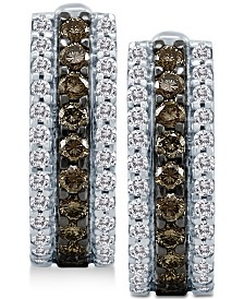 Le Vian Chocolatier® Chocolate Diamonds® & Vanilla Diamonds® Hoop Earrings (3/4 ct. t.w.) in 14k White Gold