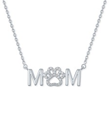 "Diamond ""Mom"" Paw 18"" Pendant Necklace (1/10 ct. t.w.) in Sterling Silver"