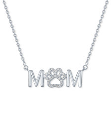 """Diamond """"Mom"""" Paw 18"""" Pendant Necklace (1/10 ct. t.w.) in Sterling Silver"""
