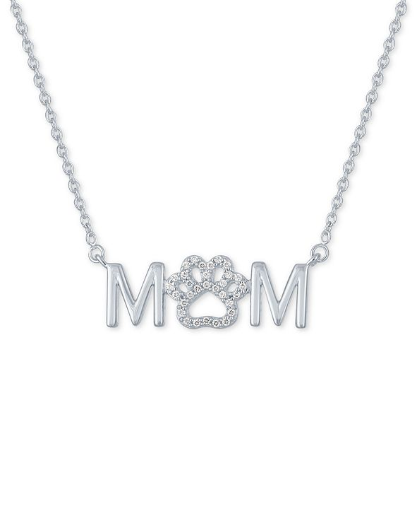 """Macy's Diamond """"Mom"""" Paw 18"""" Pendant Necklace (1/10 ct. t.w.) in Sterling Silver"""