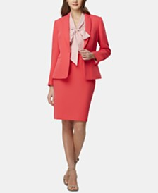 Tahari ASL Single-Button Peak-Lapel Blazer, Striped Tie-Neck Blouse & Back-Slit Pencil Skirt
