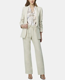 Tahari ASL Ruched-Sleeve Shawl-Lapel Blazer, Snake-Print Tie-Neck Top & Linen Wide-Leg Pants