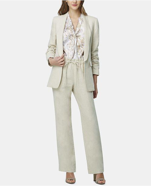 Tahari ASL Petite Ruched-Sleeve Jacket, Printed Top & Wide-Leg Pants