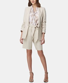 Tahari ASL Ruched-Sleeve Shawl-Lapel Jacket, Snake-Print Tie-Neck Top & Linen Tie-Waist Shorts