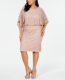 Plus Size Dolman-Sleeve Lace Dress