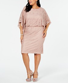 Jessica Howard Plus Size Dolman-Sleeve Lace Dress