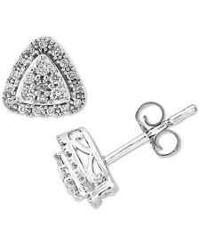 EFFY® Diamond Triangle Halo Cluster Stud Earrings (1/3 ct. t.w.) in 14k White Gold