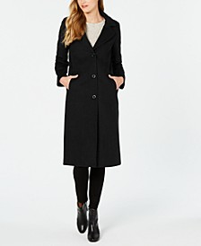 Petite Single-Breasted Notch Collar Reefer Maxi Coat