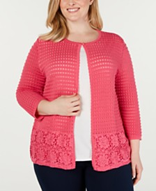 Alfred Dunner Plus Size Classics Layered-Look Pointelle Top