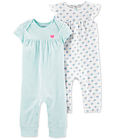 Carter's Baby Girls 2-Pack Cotton Coveralls